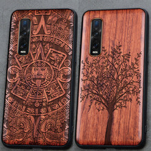 3D Carved Wood Cartoon Bear Case For Oppo Find X2 Pro Dragon Lion Wolf Tiger Tree wooden carve Cover