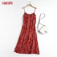 Tangada Women Red Flowers Chiffon Dress Sleeveless Backless 2021 Summer Fashion Lady Dresses 6D98 1