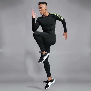 Wysokiej jakości kompresja męska odzież sportowa szybkoschnące dres biegowy odzież sportowa odzież sportowa dres biegowy strój kompresyjny tanie i dobre opinie w-nazun O-neck Swetry Pasuje prawda na wymiar weź swój normalny rozmiar Poliester Elastan Quick-drying Breathable Absorb Sweat