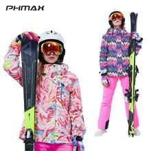 Jacket Snowboarding-Costumes Ski-Suit Women Windproof PHMAX Warm Pants-Set Outdoor-Wear