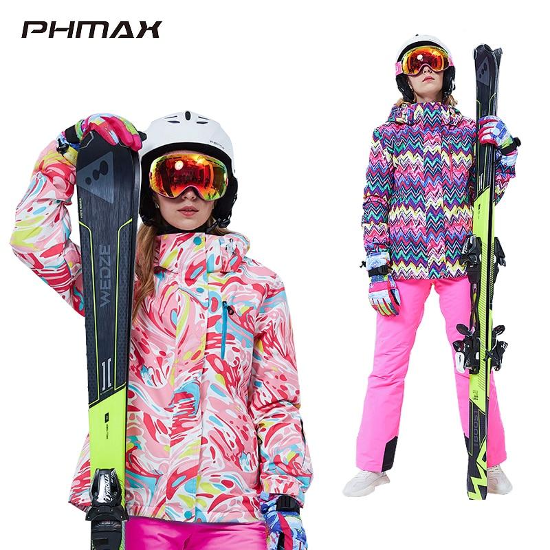 PHMAX-traje de esquí para mujer, chaqueta de esquí gruesa y cálida a prueba de viento, conjunto de pantalones, disfraces de snowboard para nieve para mujer, ropa para exteriores, chaqueta de esquí