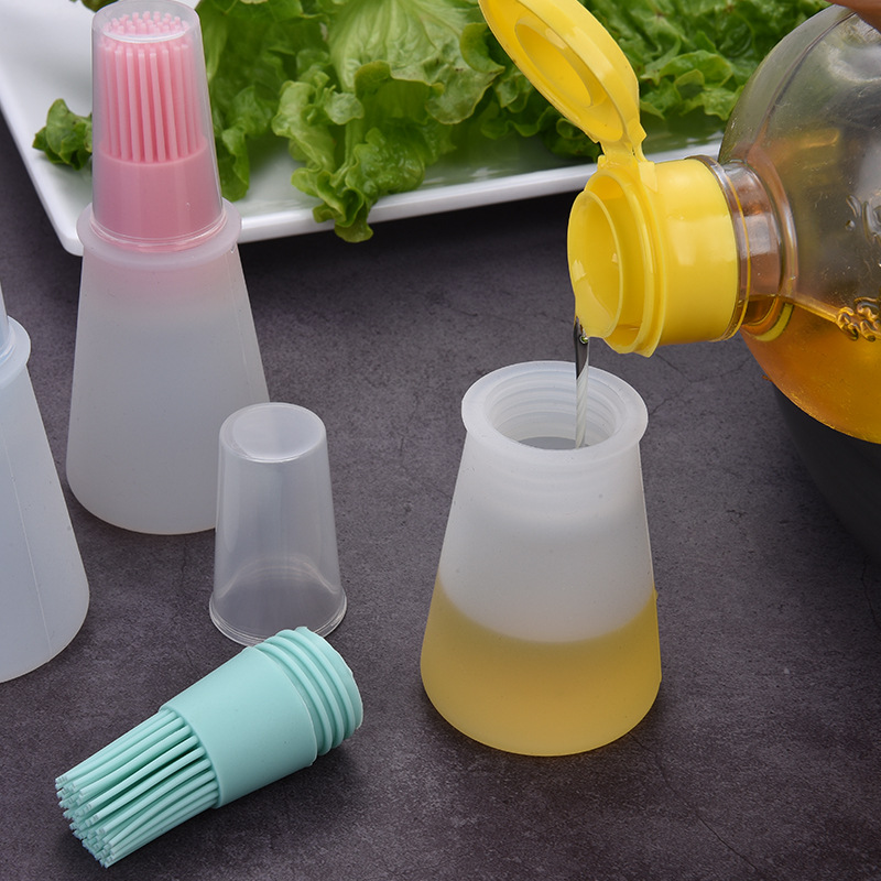 New Portable Silicone Oil Bottle With Brush BBQ Basting Brushes Cake Butter Bread Pastry Brush Kitchen Baking Barbecue Tool