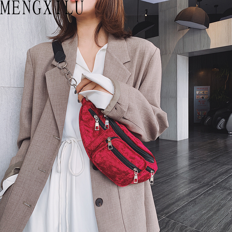 MENGXILU Faux Suede Waist Pack Fanny Pack Multi Zipper Pocket Female Chest Belt Bags Women Crossbody Shoulder Bags Bolsa Cintura