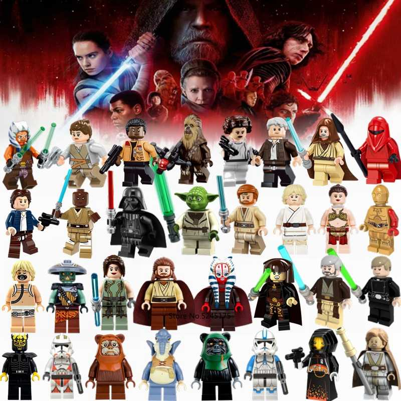 Starwars Cijfers Yoda Darth vader Luke Leia Han Solo Rey Finn Obi-Wan C-3PO Trooper Star Wars Bouwstenen action Figure Speelgoed
