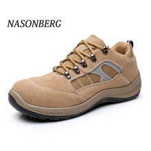 NASONBERG Breathable Lightweight Men Safety Shoes Steel Toe Work For Anti-smashing Construction Sneaker