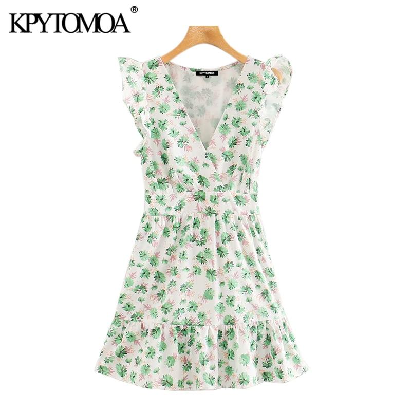KPYTOMOA Women 2020 Sweet Fashion Floral Print Ruffled Mini Dress Vintage V Neck Sleeveless Side Zipper Female Dresses Vestidos