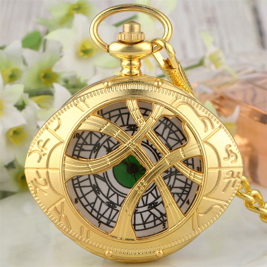 Golden Doctor Strange Eye Shape Quartz Pocket Watch Half Hunter Pendant Clock Gifts For Men Women Kids