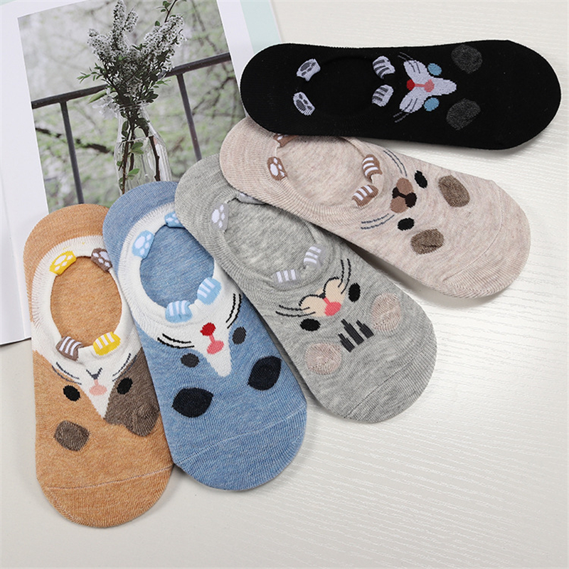 5pairs=10pieces Cartoon Women Socks Cotton Socks Cute Animal Ear Girl Ankle Socks Harajuku Breathable Sokken