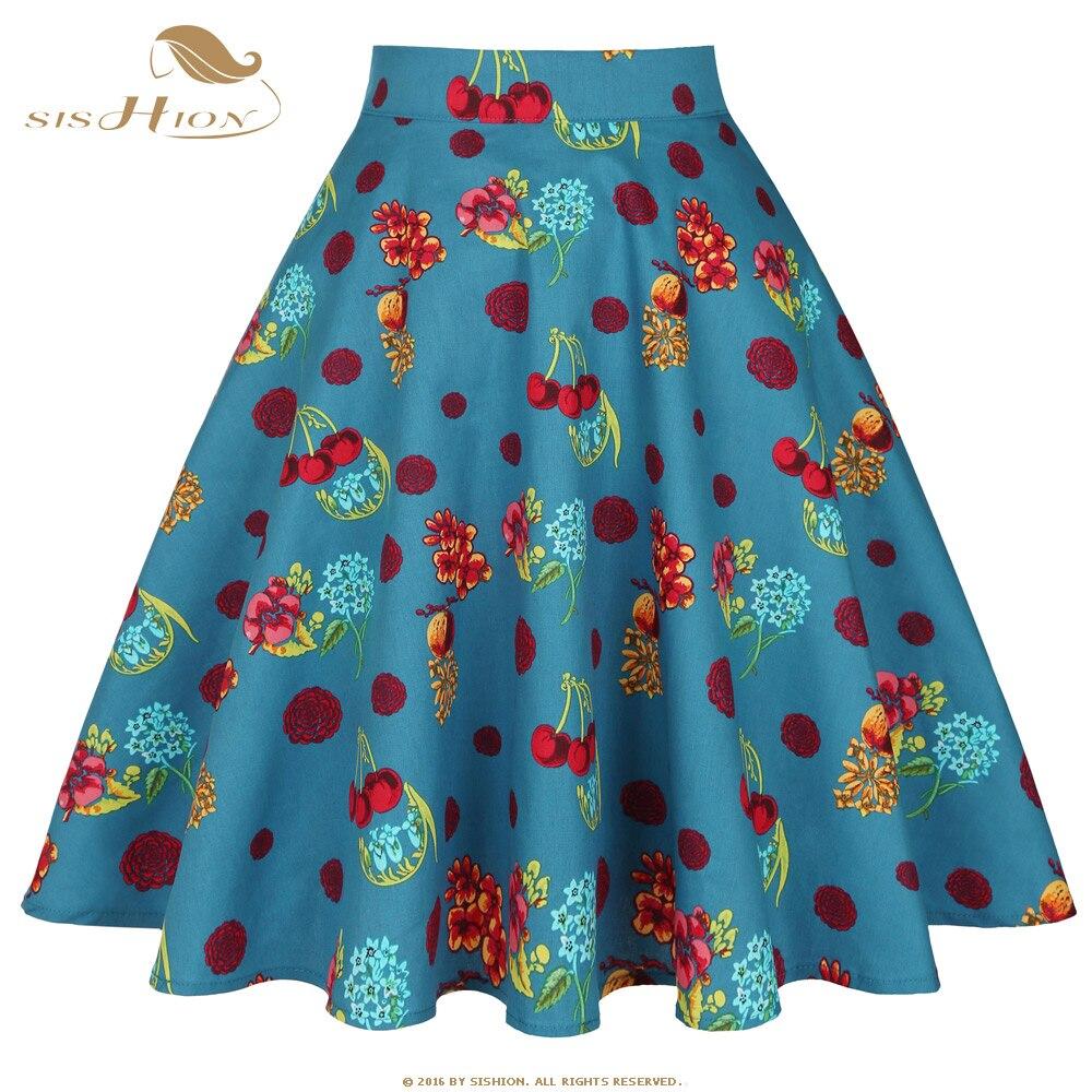 SISHION Women Vintage Big Swing Skirt VD0020 Cotton High Waist Green Cherry Flower Print Mid Skirt Female Mujer