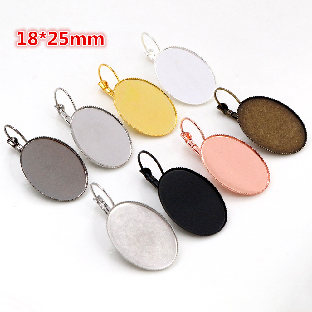18x25mm 10pcs/Lot Classic 9 Colors Plated French Lever Back Earrings Blank/Base,Fit 18x25mm Oval Glass Cabochons;Earring Bezels