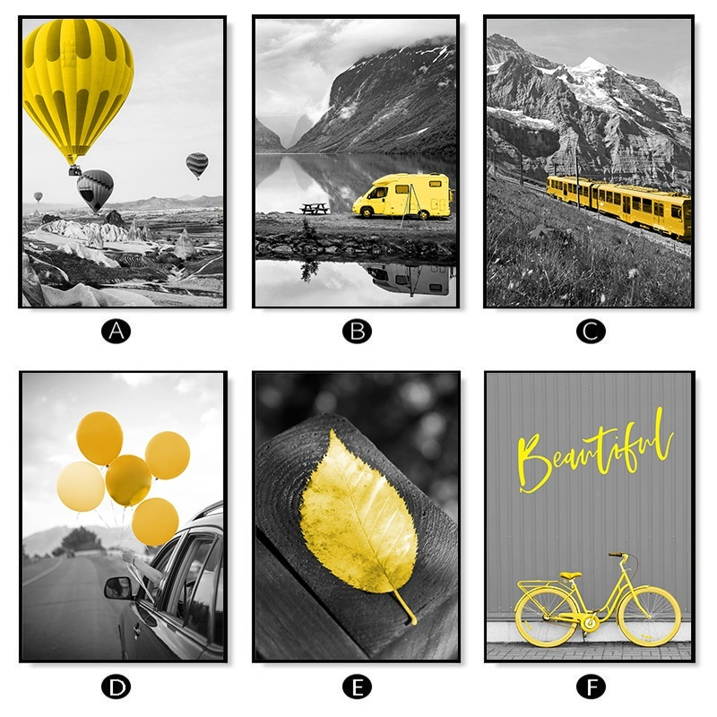 H419a7bb7e8ce428e8ae1da2e094174c1Q Black and White Photograph Landscape Picture Home Decor Nordic Canvas Painting Wall Art Yellow Scenery Art Print for Living Room