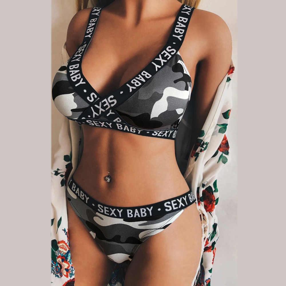 Moda letnia damska bielizna sportowa zestaw nowa seksowna z wiązaniami gorset list kamuflaż Push Up biustonosz stringi figi komplet bielizny D4