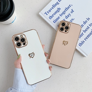 Image 4 - Electroplated Love Heart Phone Case For iPhone 11 12 Pro Max XS X XR 7 8 Plus Mini SE 2020 Soft Silicone Bumper Back Cover