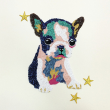 Sequin Patches Cute Colorful Dog Sew on for For Girl Clothing Embroidery Animal Patch Applique Badge Sticker