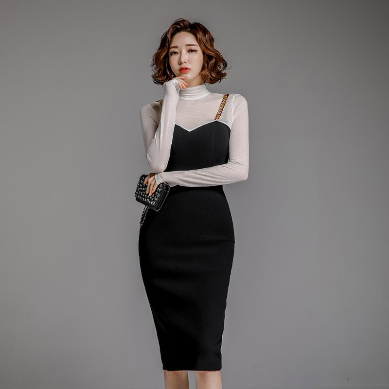 2020 Spring WOMEN'S Dress New Products Korean-style Elegant Black And White Mixed Colors Mock Two-Piece Slim Fit Sheath Pencil S