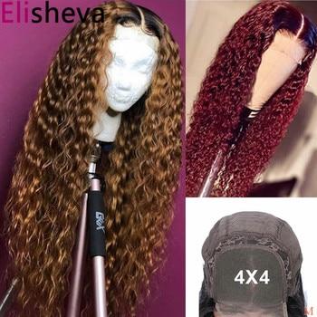 1B/30 Peluca de pelo humano negro rizado y marrón Ombre peluca brasileña rizada profunda 4x4 Peluca de cierre de encaje 1B/99j pelucas sin pegamento Remy 150%