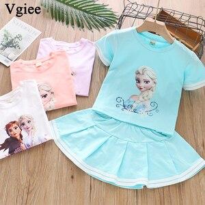 Vgiee Белая Летняя одежда для маленьких девочек, детская одежда, комплект из двух предметов с платьем «Холодное сердце», 2 костюма для девочек, ...