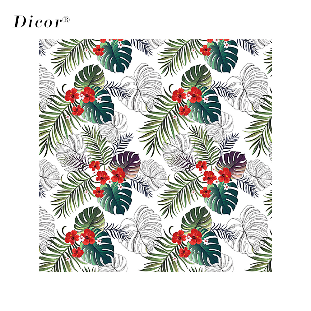 DICOR Flower Pattern Glass Window Privacy Film No Glue Decoration Anti Uv Bathroom&study&living room Home Decor BLT1557