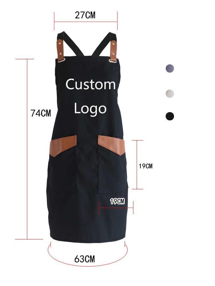2019 אופנה לעבוד סינר לגברים בד שחור סינר סינר מתכוונן בישול מטבח סינרים לאישה עם כלי כיסים מותאם אישית לוגו