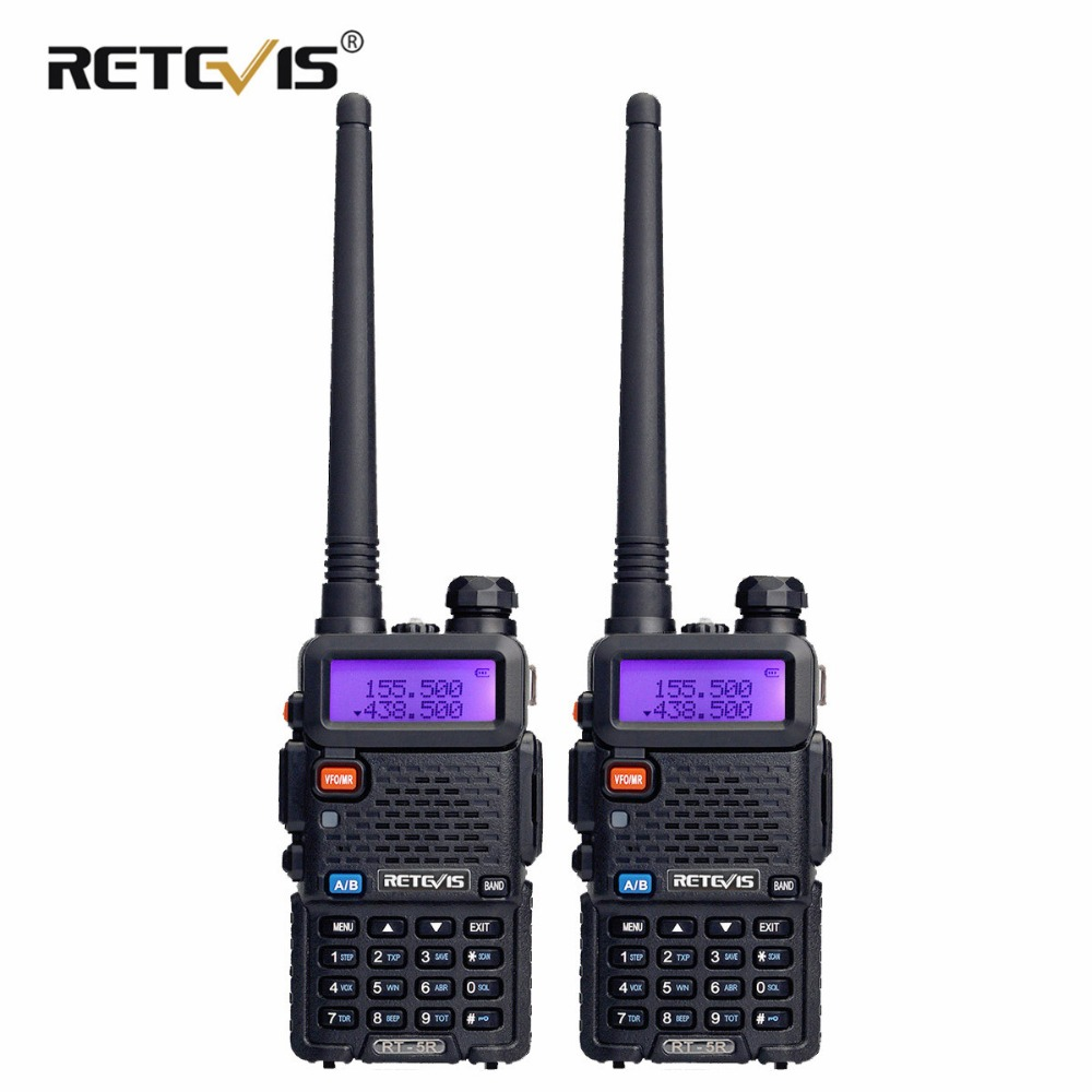 Retevis RT5R Walkie Talkie 2PCS 5W 128CH VOX Scan UHF VHF Radio Station Dual Band Portable Ham Radio Two-way Radio For Hunting