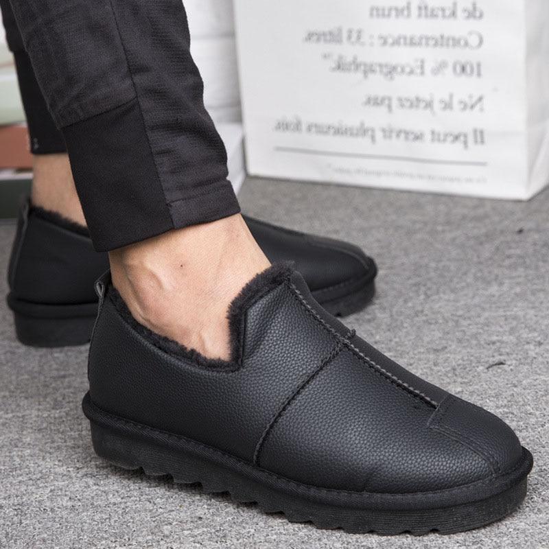 Winter Plush Warm Men Boots With Fur Snow Boots Men Footwear Rubber Ankle Boots Men's Shoes Plus Size