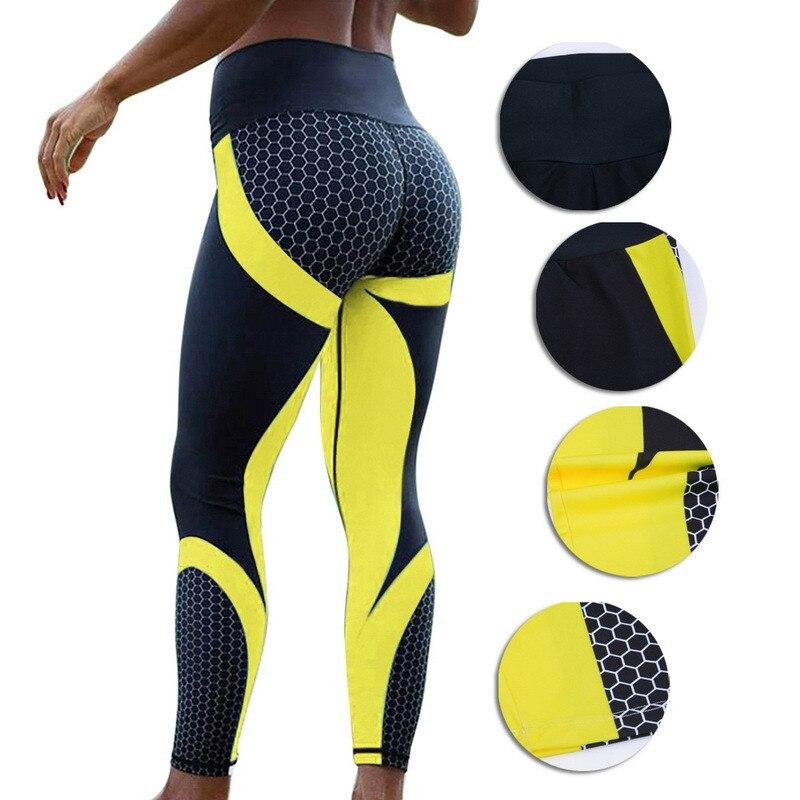 2019 Honeycomb Carbon Leggings Women Fitness Wear Workout Sports Running Leggings Push Up Elastic Slim Gothic Sexy Leggings