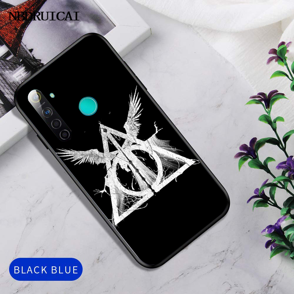 Nbdruicai 死の秘宝ロゴ新着ブラック携帯電話 oppo realme 5 3 プロ F7 F11 F3 カバー