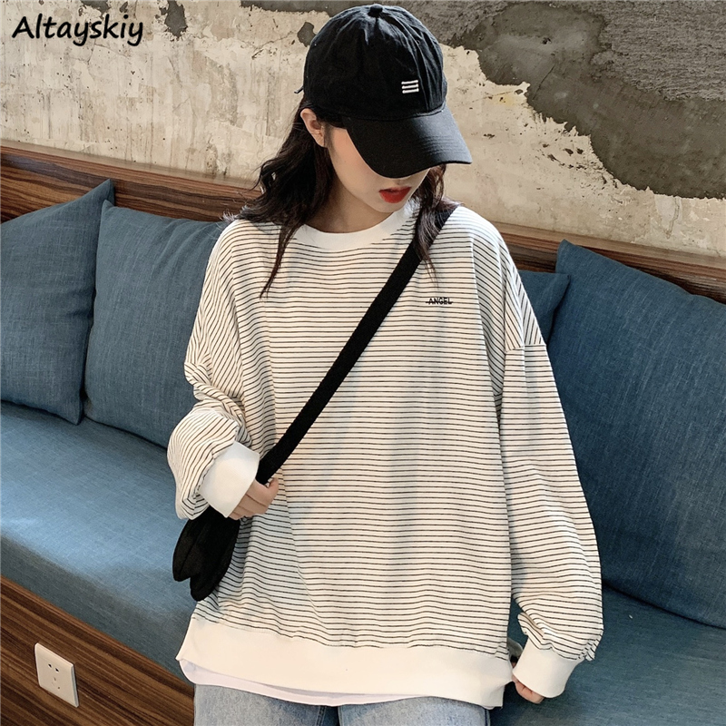 Hoodies Women Striped Students Simple Casual O-Neck Womens Pullover Sweatshirt All-match Loose Chic Harajuku Korean Style Daily