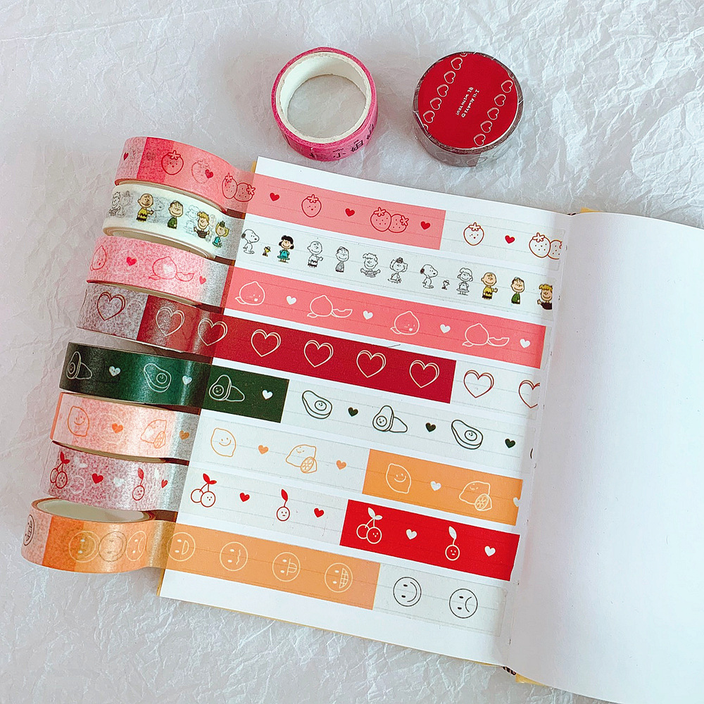 Mohamm 1Pcs Kawaii Heart Peach Strawberry Tape Decorative Creative Cartoon Stickers Scrapbooking Stationery School Supplies