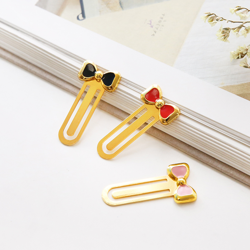 3pcs Bow Knot Metal Bookmarks For Books Pink Black Red Gold Color Bow Tie Page Clips Book Marker Girl Gift Office School 6604
