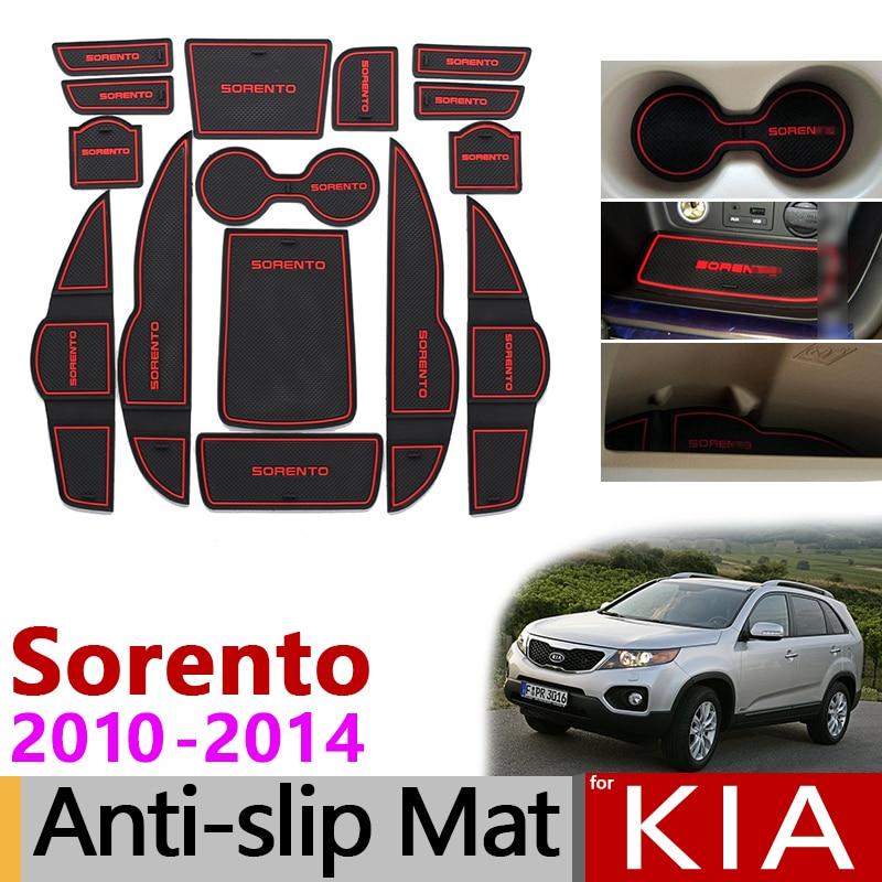 Anti-Slip Gate Slot Mat Rubber Coaster For KIA Sorento XM 2010 2011 2012 2013 2014 Kia Sorento R 2010-2014 Accessories Stickers