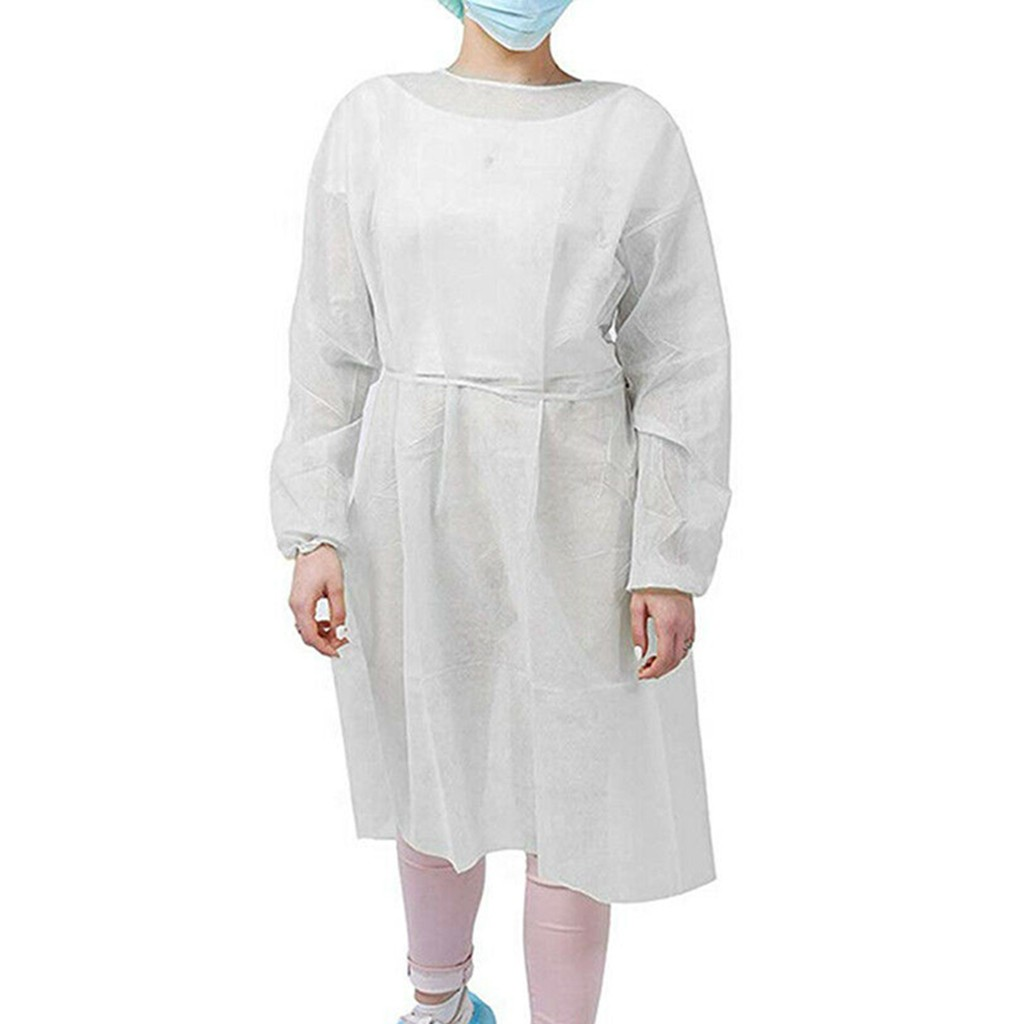 5/10pcs Disposable Protective Isolation Clothing Anti-Spitting Waterproof Anti-Oil Stain Nursing Gown Antibacterial Suit #R25