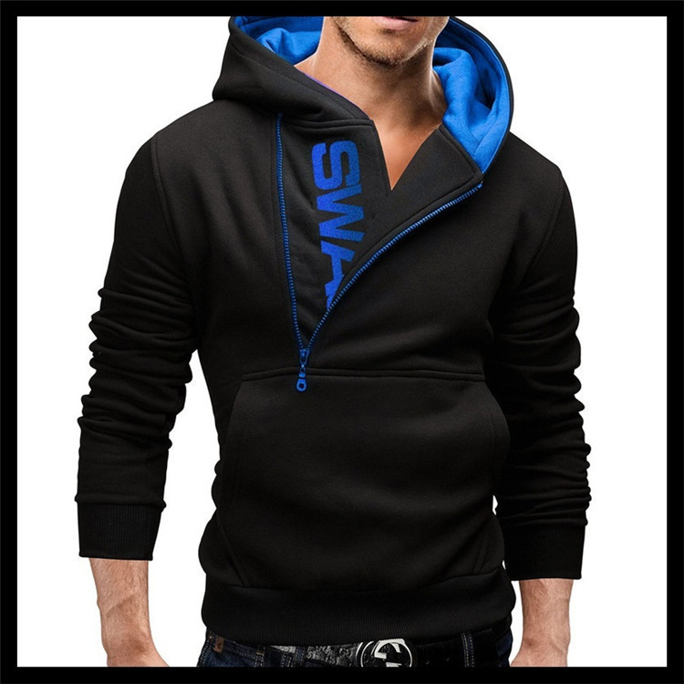 Men's Side Zipper Hit Color Sweater Large Size Cool Pullover Hooded Sweater Warm Loose Coat Casual Cotton Sweaters
