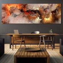 Wangart plakat skandynawski pomarańczowy biały dym tekstury streszczenie obraz na płótnie obraz do salonu Mural nowoczesny prosty pokój