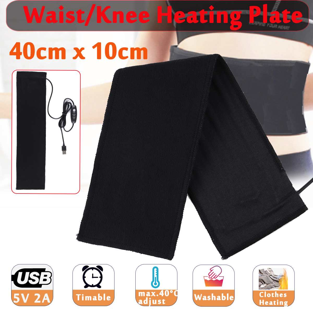 Electric Heating Pad 5V USB Washable Sewing Jackets Clothes Heating Pad Waterproof Waist/Knee Heater Plate Mat For Winter Warmer