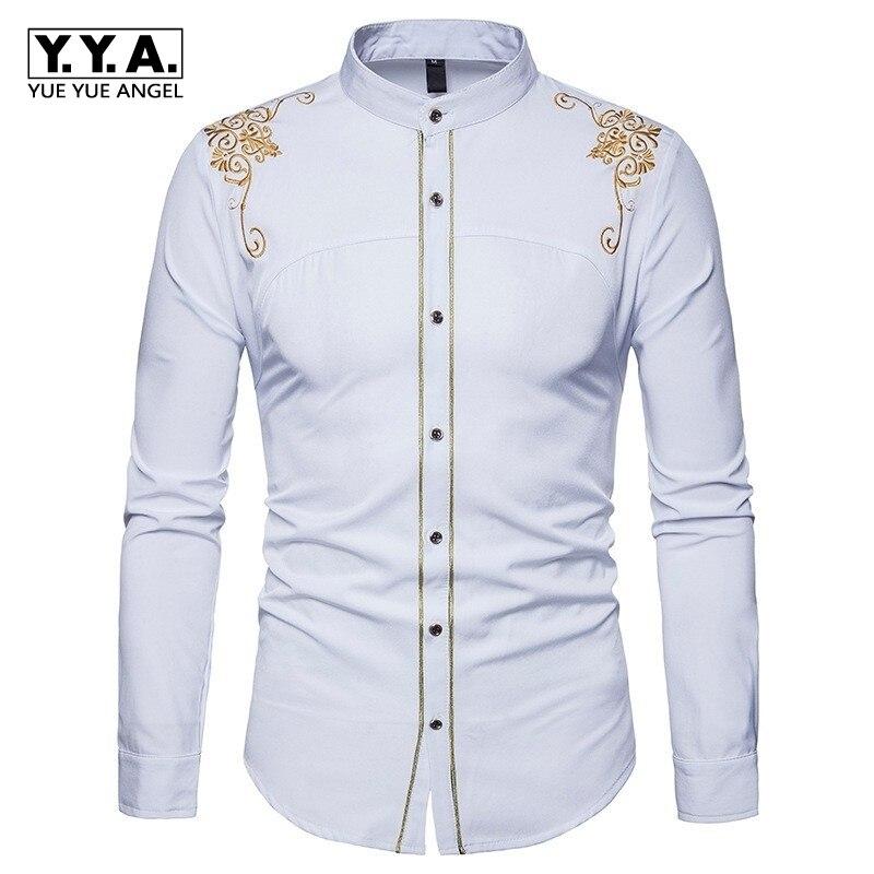 2020 New Arrival Summer Mens Shirts Court Embroidery Long Sleeve Mens Shirt Korean Casual Turn Down Collar Camisa Masculina
