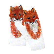 Mittens Full-Finger-Gloves Cashmere Animal Print Warm Colorful Winter Women Windproof