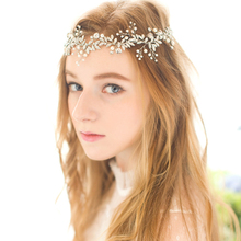 Rhinestone Pearl Headband Bride Hair Accessories Wedding Headband Silver Color Rhinestone Headband Wedding Hair Jewelry Headband pearl and diamond headband rhinestone hair accessories flower hair bride jewel hair band black crystal ladies jewelled headband