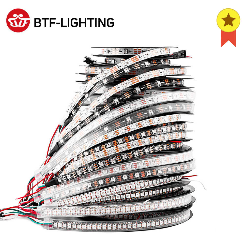 1 M/2 M/4 M/5 M WS2812B LED Strip 30/60/74/ 96/100/144 Piksel/LED/M WS2812 Smart RGB LED Light Strip Hitam/Putih PCB IP30/65/67 DC5V