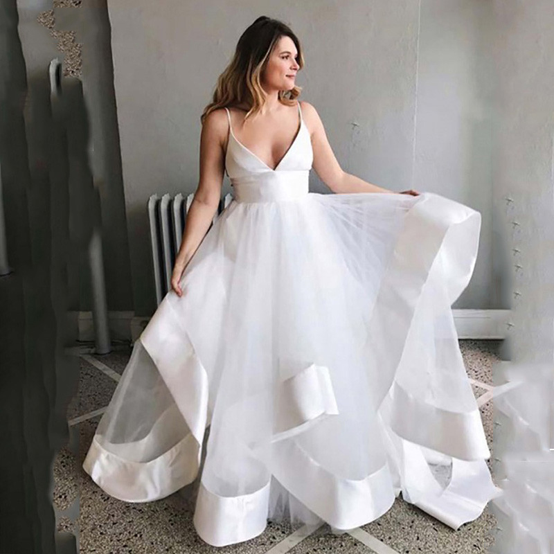 SoDigne A Line Wedding Dress 2019 Beach Bridal Gown Plus Size Spaghetti Straps Sexy Boho Romantic Wedding Gowns