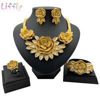 African Popular Jewelry Set Beautiful Big Water Lily Embellished Crystal Ladies Necklace Earrings Bracelet Ring Trendy Jewelry