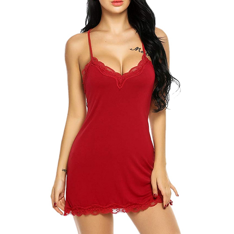 Womens Lace Nightdress Dtrap Deep V Neck Lingerie Hot Ladies Sleepwear Dress Robe Nightie Gown Sleepshirts 2