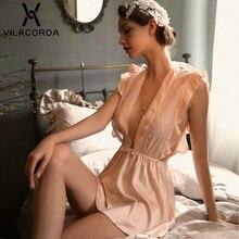 مثير الدانتيل فستان النوم المرأة الصيف ملابس خاصة العميق الخامس الرقبة الكشكشة القوس المرأة فستان النوم منظور إغراء النوم الإناث