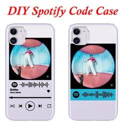 Código spotify personalizado caso de telefone para iphone xs max xr x se 2020 caso silicone capa traseira iphone 5 6 s 7 8 plus 12 mini 11 pro max