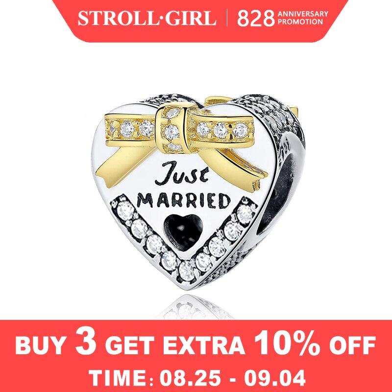 Beads Charms Married Wedding Original Pandora Bracelet Jewelry Heart-Shaped 100%925-Sterling-Silver