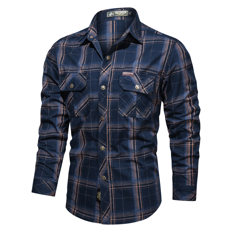 Mens Shirts Military Shirts for Men Turn Down Collar Long Sleeve Mens Casual Shirt Stripped Army Shirts Brand New Plus Size 4XL