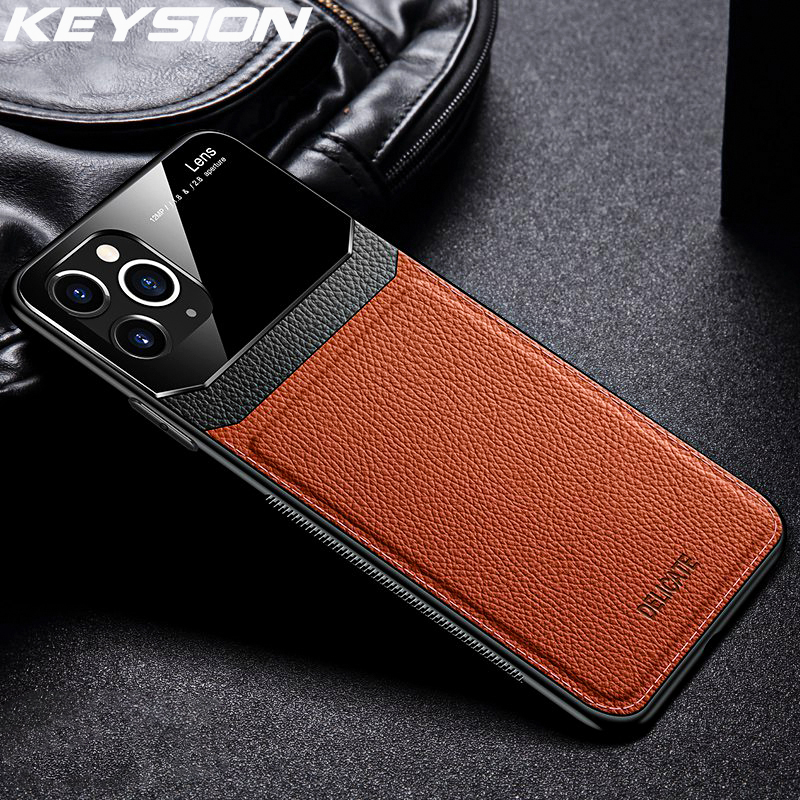 KEYSION Shockproof Case for iPhone 11 Pro Max XS XR X PU Leather Mirror Tempered Glass Phone Back Cover For iPhone 8 7 6 6s Plus