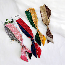 Fashion Hair Bag Scarf Women Kerchief Plaid Stripe Print Scarf Female Fashion Two-sided Handle Headband Skinny Scarves for Women two tone geo print headband