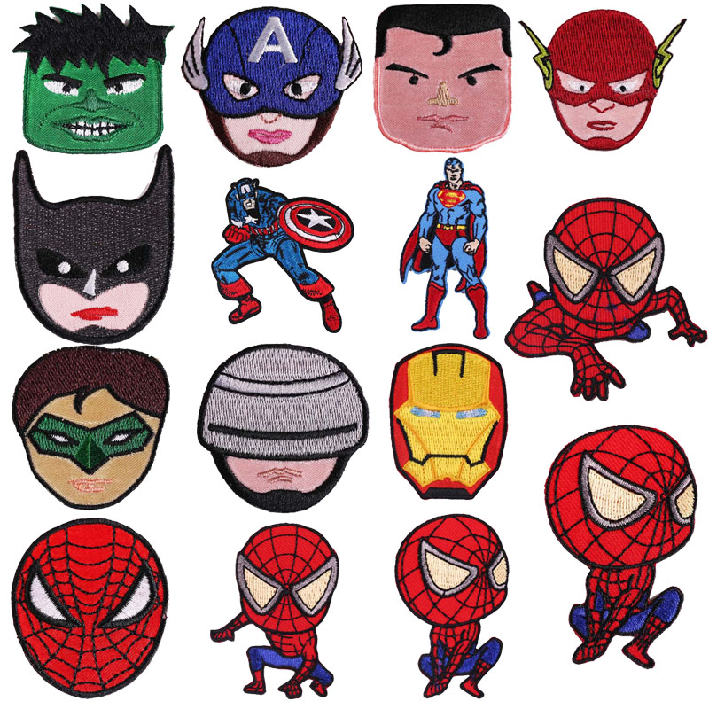 Spiderman Batman Superman <font><b>Patches</b></font> Iron on Transfer <font><b>for</b></font> <font><b>Clothing</b></font> <font><b>Marvel</b></font> Thermal Stickers Heat Transfer <font><b>Patches</b></font> Stickers image