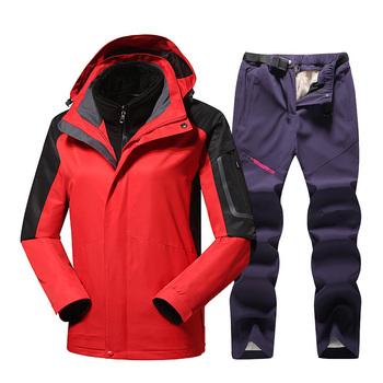 Damski kombinezon narciarski termiczna kurtka narciarska spodnie zestawy wiatroszczelna wodoodporna narciarstwo kurtka snowboardowa kurtka zimowa dla kobiet płaszcz na śnieg tanie i dobre opinie CN (pochodzenie) Poliester WOMEN Z kapturem Pasuje prawda na wymiar weź swój normalny rozmiar N365 Oddychające Anti-shrink